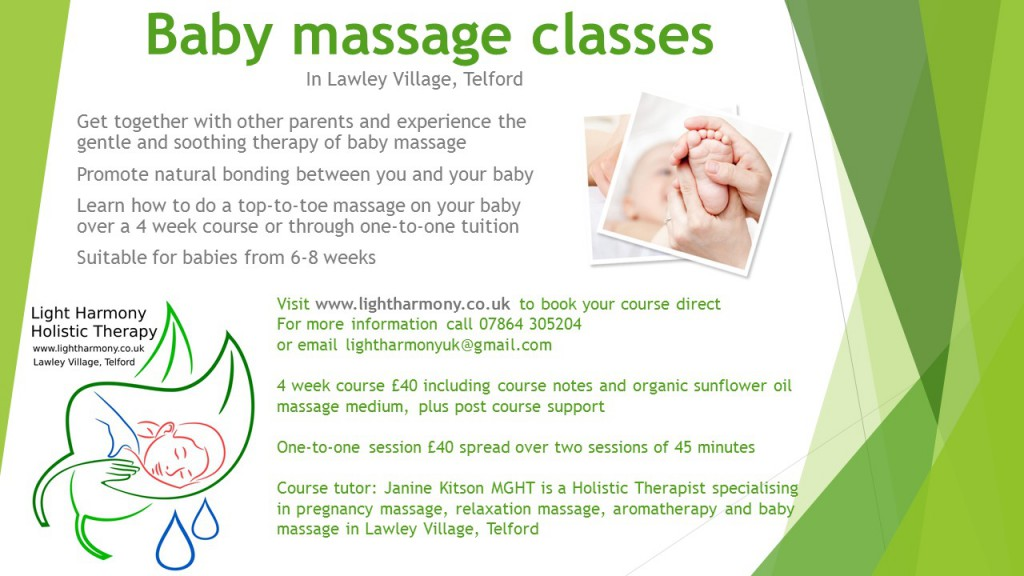 Baby massage classes poster